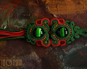 AZTEC PROJECT Soutache Bracelet with Venetian Glass - Antidotum- Craftwork- Handmade- Soutache Jewellery