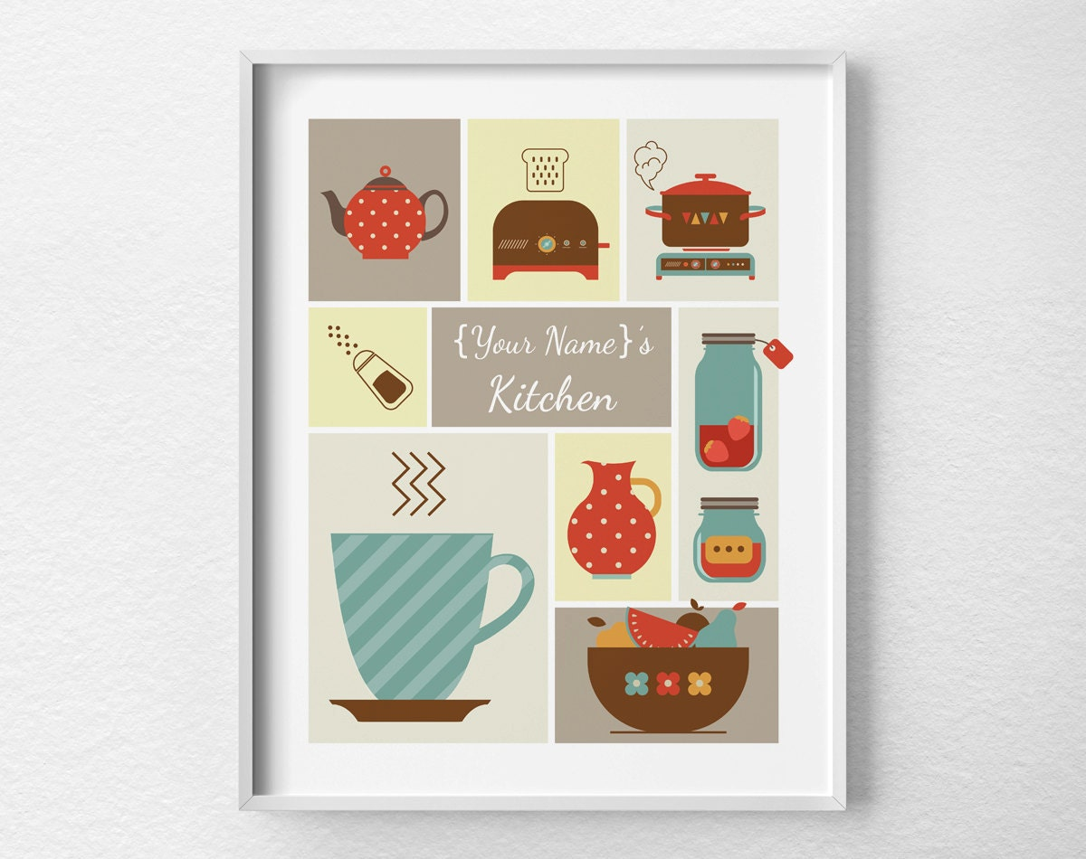 personalized kitchen accessories personalized kitchen print kitchen decor retro kitchen 1471