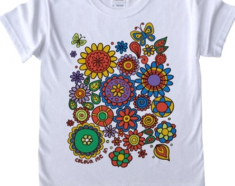Girls T shirt to Colour in Flower Power Design Doodle Colouring in Art Fabric Pens Tee Shirts Fun Activity for Kids