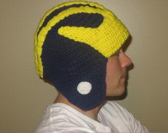 University of Michigan Inspired Crocheted Helmet Toddler/Child Size
