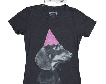Dachshund T-Shirt. Dachshund Shirt.  Dog Women's T-Shirt- Funny Wiener Dog in A Party Hat Shirt in Sizes Small to XXL