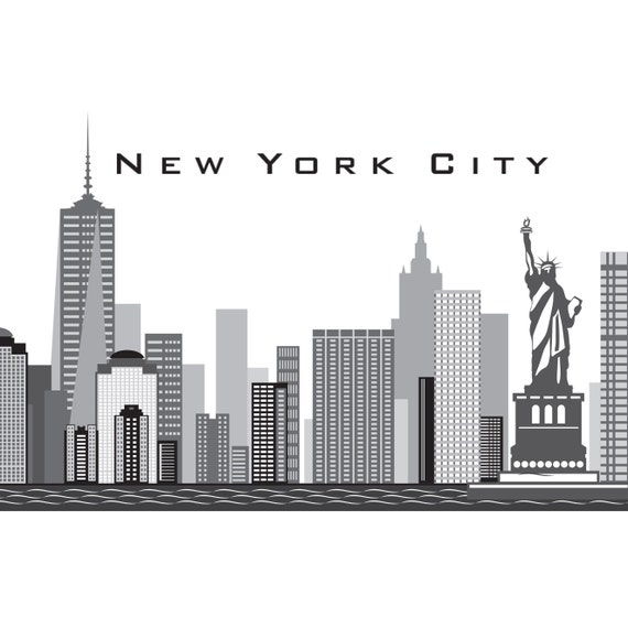 New york city ny skyline wall decal art freedom tower printed for Real estate office wall decor