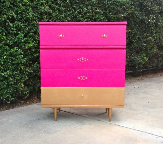 Gold-dipped Hot Pink Mid Century Modern Tallboy