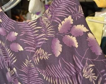 Vintage royal purple paleolithic/dinosaur plant/ferns dress & purple pillowcase [stripes and little anchors]