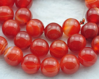 Red Banded Agate  smooth Round  beads 10mm,37 pcs