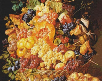 A Basket of Fruit with Animals PDF Cross Stitch Pattern