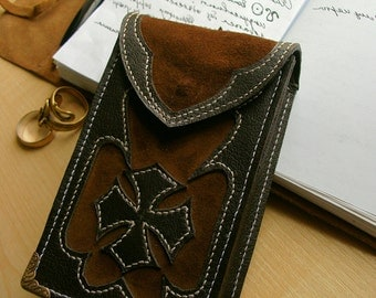 Gothic / steampunk leather Tarot cards case Brown / Maltese cross