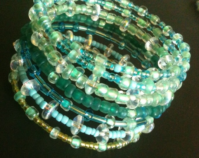 green and blue glass memory wire bracelet