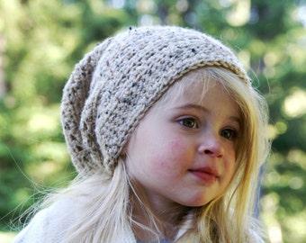 Little Girl's Slouchy Crochet Hat- 30 COLORS handmade/kids/tan/cream/oatmeal/knit/stretchy/stylish/cozy/warm/winter/beanie