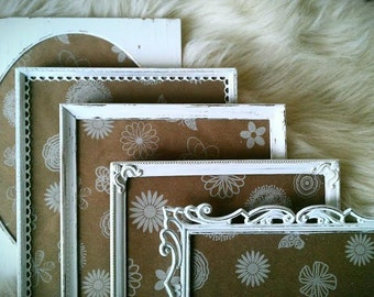 """S A L E  Vintage Frames, Photo Frames, White Shabby Chic Frames, Hand Painted Metal Frames, Set of 5, 8"""" x 10"""" Frames, Made to Order"""
