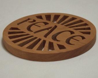 Peace cherry Trivet - Potholder - Wooden trivet.