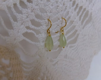 gilt silver earrings with aquamarine drop