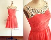Coral Chiffon Bridesmaid Dress Prom Dress Sheer Beading Neckline Knee Length Short Dress Party Dress for Wedding