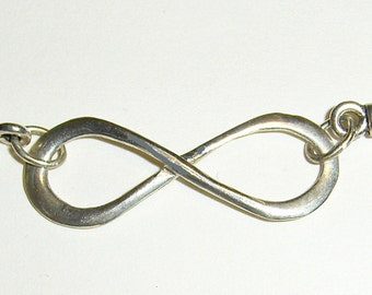 Infinity Symbol Sterling Silver Necklace on Black Leather Cord Handcrafted