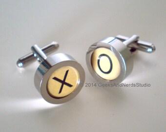 Custom Cufflink - White Typewriter Key Cufflinks - Personalized Custom Monogram Cufflink with 2 Initial Cuff Links