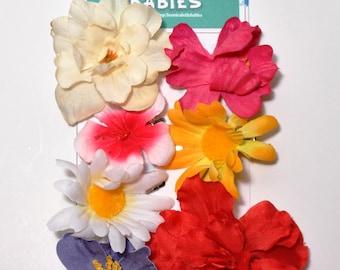 Silk Flower Hair Clips Six per Card