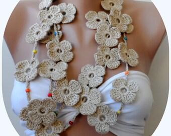 Crochet flower scarf, Tan scarf, floral lariats, Shamrock scarf, crochet lariat, necklacescarf, summer scarf, jewelry, Braidsmaid scarf