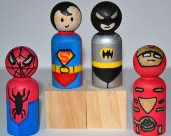 Superhero Cake Topper - Birthday Party Favors - Wooden Peg People Dolls - Stocking Stuffer