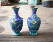 Beautiful Pair ofBlue Floral Chinese Cloisonne Vases