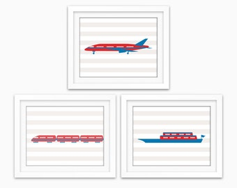Planes, Trains and Boats! Transportation wall art for boys room decor, birthday gift for boy