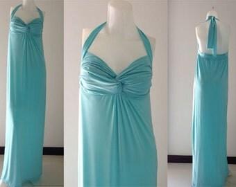 Bridesmaid  Light blue Halter sun beach Long maxi dress all size