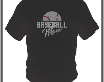 Baseball Mom Shirt/ Rhinestone Baseball Shirt/ Rhinestone Half Baseball Mom T Shirt/ Baseball Mom Gift