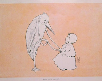 1929 Humorous Stork and Baby Illustration - Who's Driving? Nelly Littlehale Umbstaetter