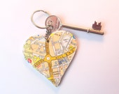 Sheffield map keyring: unqiue heart keyring made with vintage/old maps Custom made with an area of Sheffield of your choice Unique gift idea