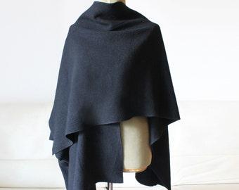 Poncho, wool cape, wrapped poncho, black elegant cardigan, woman wool coat