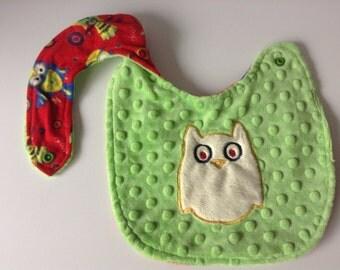 Owl Baby bib-Reversible bib, Baby bib-Drooling bib-Ready to ship