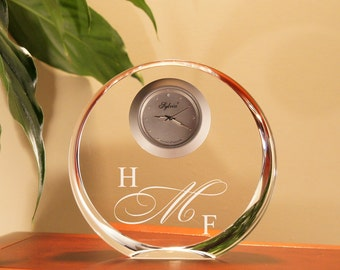 Personalized Cystal Clock Engraved with Choice of Design or Font Selection (Each - Optic Crystal Round) Click Main Image for Options