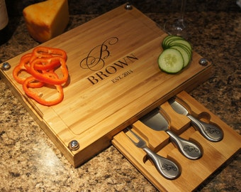 """Designer's Dream Wedding Glass and Bamboo Cutting Board with Personalization Options, Wedding Designs, and Font Selection (Each - 13"""" x 10"""")"""