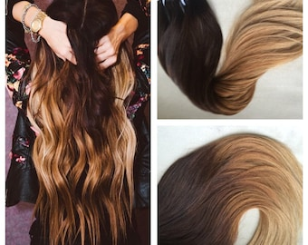 Clip in extensions haircouturebyhamo 5 star ombre cuticle european remy human hair double wefted clip in hair extensions 180grams pmusecretfo Choice Image