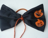 Halloween Black Hair Bow Ponytails 126/spooky/pumpkin