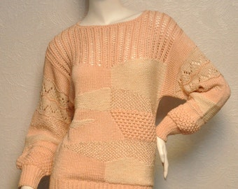 Vintage Hand Knit Pale Pink Crochet SWEATER by NANNELL with Dolman Sleeves