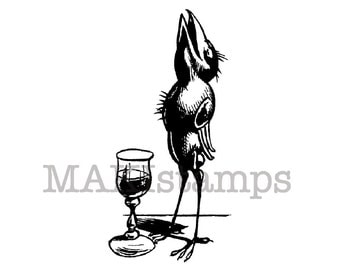 Raven tasting a glass of liquor / Raven stamps / Unmounted rubber stamp or cling stamp style  (131018)