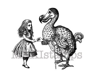 Rubber stamp Alice and the Dodo  / Alice in Wonderland stamp (140811)