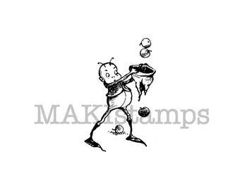Thanksgiving Brownie with apples rubber stamp (140607) - all rubber stamps unmounted or EZ mounted
