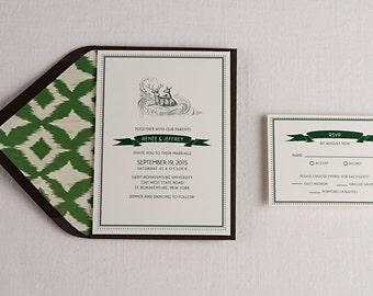 Deer themed wedding invitation, digital, hunter green, fauna, woods, 5x7, forest