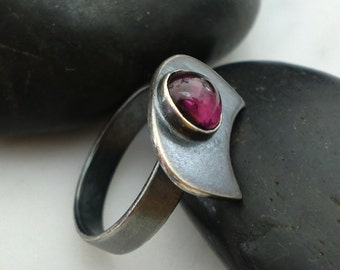 Handmade Oxidized Sterling Silver Ring with 7mm Rhodolite Garnet
