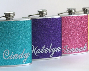 3 Flasks You Pick The Colors Personalized Glitter Stainless Steel 6 oz Liquor Hip Flask Flasks Wedding Bride Bridesmaid Gift