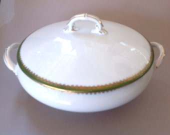 LS&S, Lewis Strauss and Sons Carlsbad Austria Green, Gold and White China Covered Vegetable Bowl