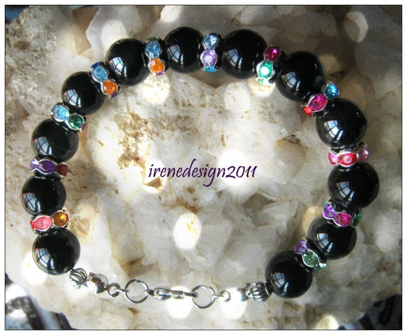Beautiful Handmade Silver Bracelet with Black Onyx & Swarovski by IreneDesign2011