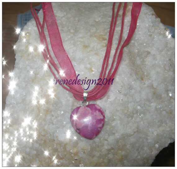 Handmade Pink Silk Necklace with Pink Howlite Heart by IreneDesign2011
