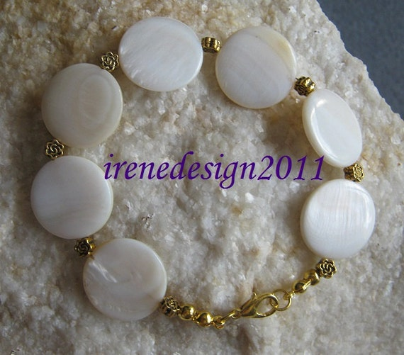 Beautiful Handmade Gold Bracelet with White Seashell Coins & Roses by IreneDesign2011