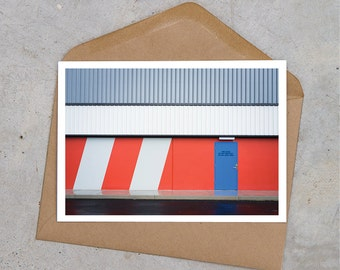 red + blue graphical industrial postcard