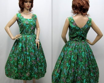Vintage 50's Dress, 50s Party Dress, 50s Cupcake Dress, Mad Men Dress, 50s Rockabilly Dress