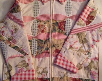 Q4    Sweet dusty rose and cream handmade quilted women's  medium quilted jacket.