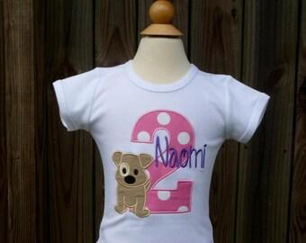 Personalized Birthday Puppy Applique Shirt or Onesie Girl or Boy