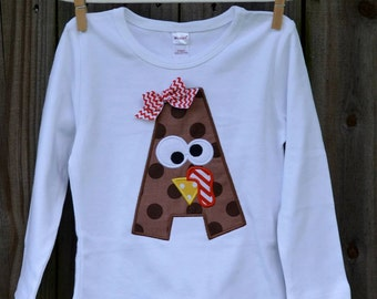 Personalized Turkey Initial Applique Shirt or Onesie for Boy or Girl